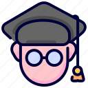education, graduate, graduation, hat, student icon