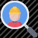 builder, building, construction, helmet, magnifier, repair, search