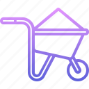 builder, building, construction, repair, sand, wheelbarrow icon