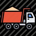 builder, building, construction, repair, sand, truck icon