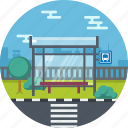 building, bus, station, travel icon