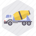 cement, construction, tool, truck, vehicle, work, transport