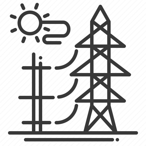 electricity, power station, solar, sun icon