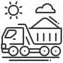 delivery, freight, sand, truck icon