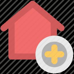 add sign, home, house, real estate, villa icon