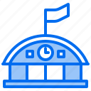 bank, building, factory, hospital, school, station, train icon