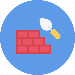 brick, build, builder, building, repair, tool, wall icon