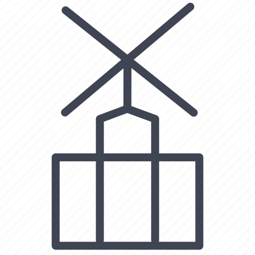 architecture, building, construction, industrial, industry, mill, wind icon