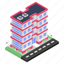commercial building, hostel, residential building, inn, motel, hotel icon