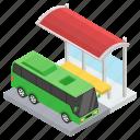 bus service, bus station, bus stop, bus terminal, public transport icon
