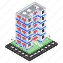 commercial building, hostel, residential building, hotel building, inn, motel icon
