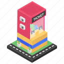 information booth, ticket booth, ticket counter, ticket window, ticketing office