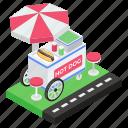 hotdog cart, hotdog stand, hotdog vending, hotdog wagon, kiosk, vending cart icon