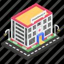 chemist shop, dispensary, drugstore, medicine store, pharmacy building icon