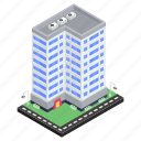 architecture, commercial building, business center, office, condo, company building icon