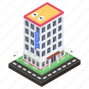 commercial building, hostel, hotel building, inn, motel, residential building icon