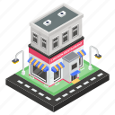 bistro, chicken restaurant, commercial building, eatery, eating house icon