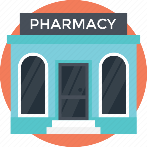 drugstore, low rise, medicine shop, pharmacy building, small building icon