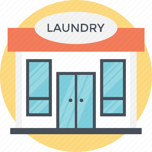 compact room, dirty washing, laundry building, small building, wash house icon
