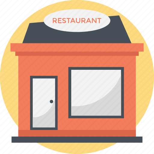 building, eating house, informal eatery, inn, low-rise building icon