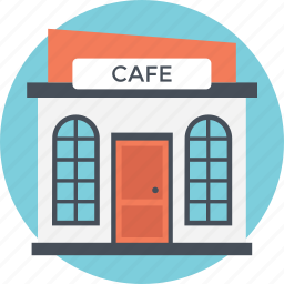 cafeteria, coffee shop, compart room, eating point, small building icon