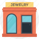 compact store, gem store, jeweler shop, ornament house, small building icon