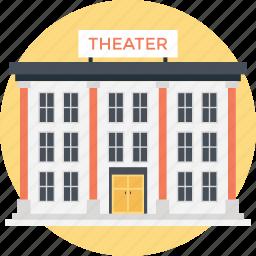 cinema, lecture hall, modern cinema, movie area, theater building icon