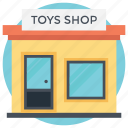 childrens area, low-rise building, toy store, toy-shop building, toys outlet icon