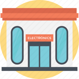 compact store, electronic store, electronics building, electronics place, small building icon
