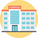high-rise hospital, hospital building, hospital pharmacy, institute, nursing care icon