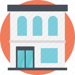 compact store, seller place, shopping building, shopping store, two stories icon