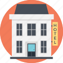 compact hotel, dining place, hotel building, motel, small building icon