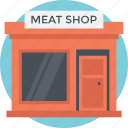 butcher shop, hut, meat shop, shop, small house icon