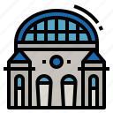 building, railway, station, train, transportation icon