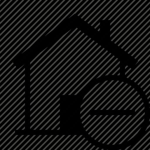 delete, home, house, less, minus, remove icon