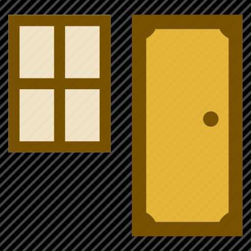 architecture, building, construction, door, window icon