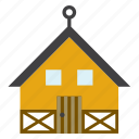 architecture, building, cabin, construction, cottage, hut, wood icon