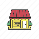 bakery, building, cafe, coffeehouse, grocery, restaurant, shop icon