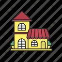 boutique, building, cafe, grocery, restaurant, shop, store icon