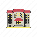 building, college, hotel, library, museum, school, university icon