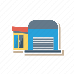 architect, building, estate, garage, real, store, town icon