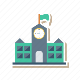 building, clock, commercial, estate, industry, real, tower icon