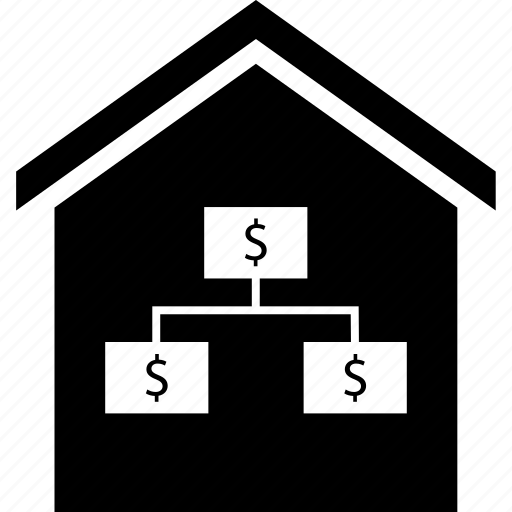 dollar, home, strategy icon