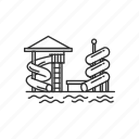 fun, park, pool, slide, swim, water, water park icon