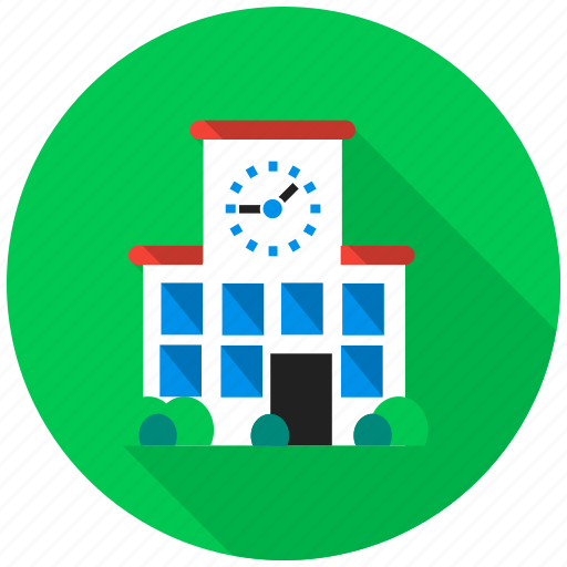 city, clock, lesson, school, science, time, town hall icon