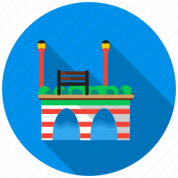 bench, bridge, lantern, park, river. viaduct, transition icon