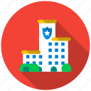 building, house, housing, police, police station, property, security icon