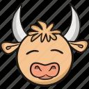 animal, bull, cow, cute, emoji