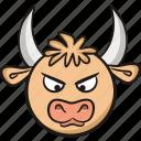 bull, cute, animal, cow, emoji, angry