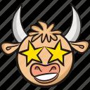 stars, bull, cow, emoji, ox